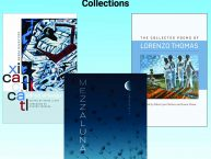 Three Book Covers: Xicancuictl; Mezzaluna; and The Collected Poems of Lorenzo Thomas are represented.